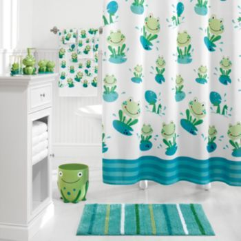 Cute kids frog bathroom sets collections design with bathtub curtains