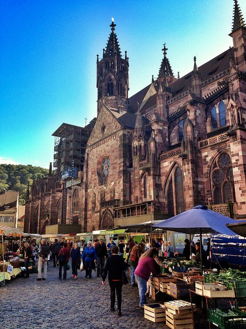 Farmer's market in Freiburg, Germany. A great way to pick up your daily groceries!