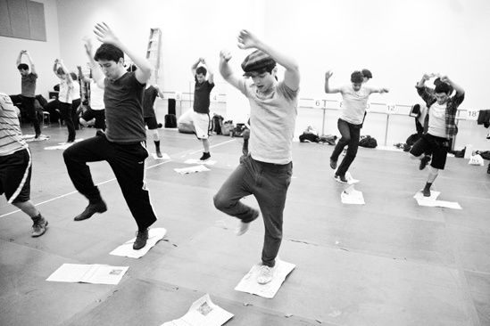 """The Newsies rehearsing """"seize the day"""" for Broadway - I just want to see this show. Okay? *take me* *anyone* (;"""