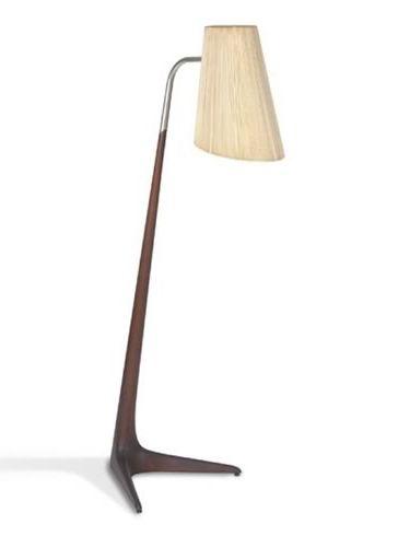 Vladimir Kagan; Walnut 'Cygnet' Floor Lamp, 1957.