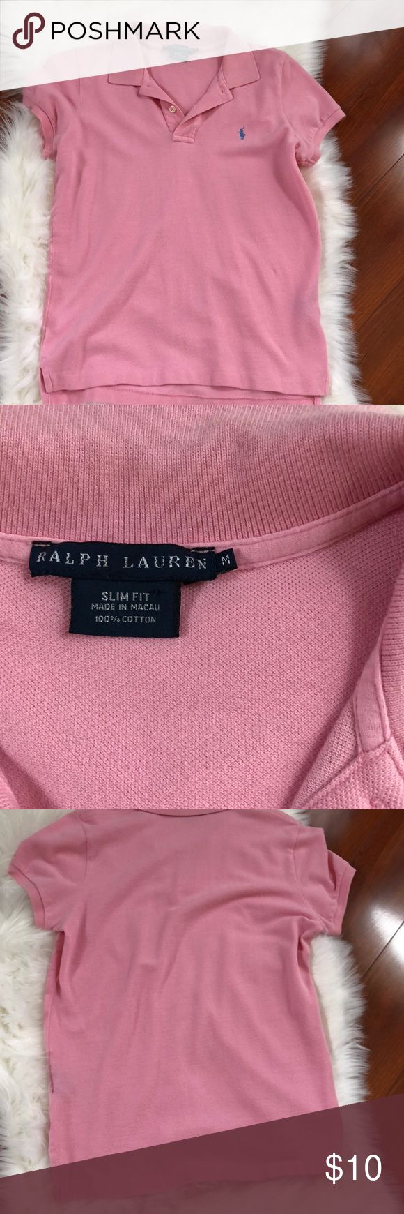 RALPH LAUREN slim fit polo shirt 👚 Preowned condition no stains no holes. This a powder light pink color. Ralph Lauren Tops Tees - Short Sleeve