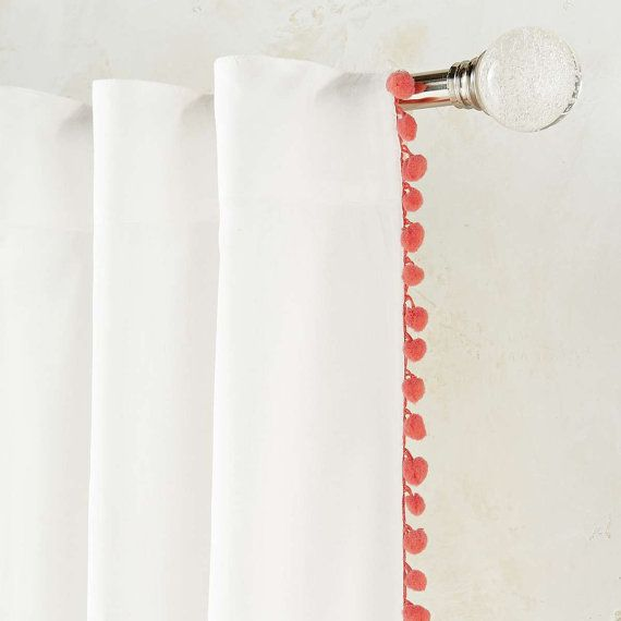 For Annie's Bed  Pom Pom Sheer Curtain Panel 50'' choose your length by TheNewHome