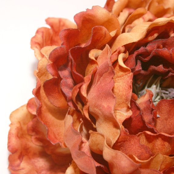 1 ENORMOUS Rust Orange Peony  Artificial by SilkInspirations, $6.50