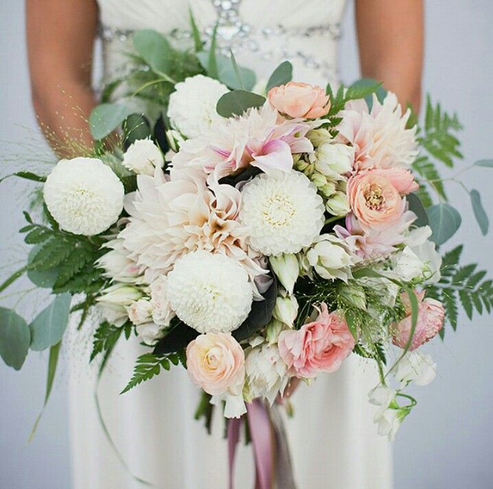 Pretty wedding bouquet. Pink and white.