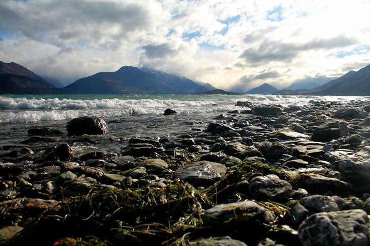 Rocky shores #Rocks #shore #water #queenstown #newzealand #nz #beautiful #mountain #lake #blue #pretty #nature #landscape