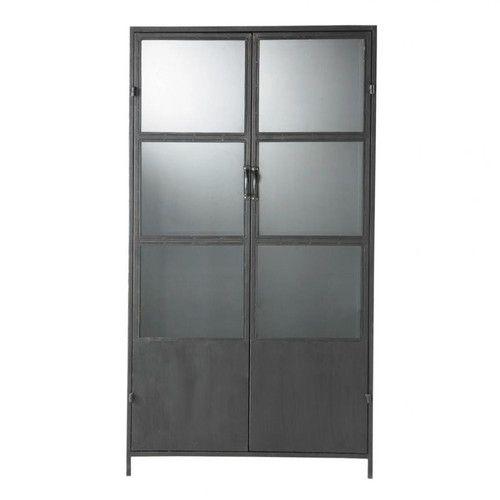 Zwarte metalen industriële vitrinekast B 100 cm