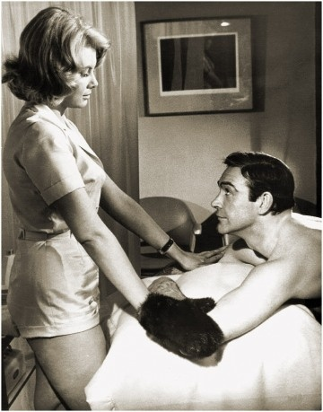Molly Peters and Sean Connery (Thunderball - 1965) ~ Ahhh the mink gloves, I've always wanted a pair!