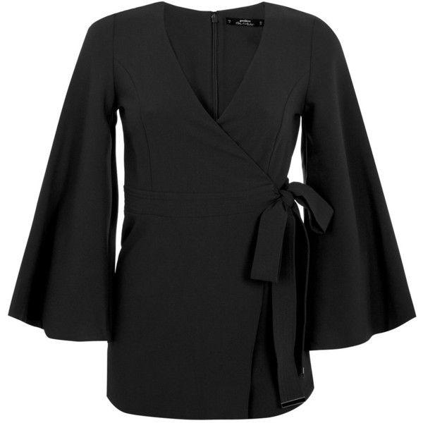 Miss Selfridge Petites Black Kimono Playsuit ($65) ❤ liked on Polyvore featuring jumpsuits, rompers, black, petite, black rompers, playsuit romper, miss selfridge, black romper and wrap romper