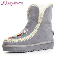 Lasyarrow Zwart Grijs Enkellaarsjes voor Vrouwen Rhinestone Bloemen Mode Dames Etnische Winter Schoenen Platform Laarzen Bont Botas RM108(China)