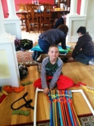 Weaving Up-cycled Rugs -- fun for kids and grown-ups too..