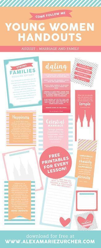 LDS YW Handout Printables - Marriage and Family Lessons
