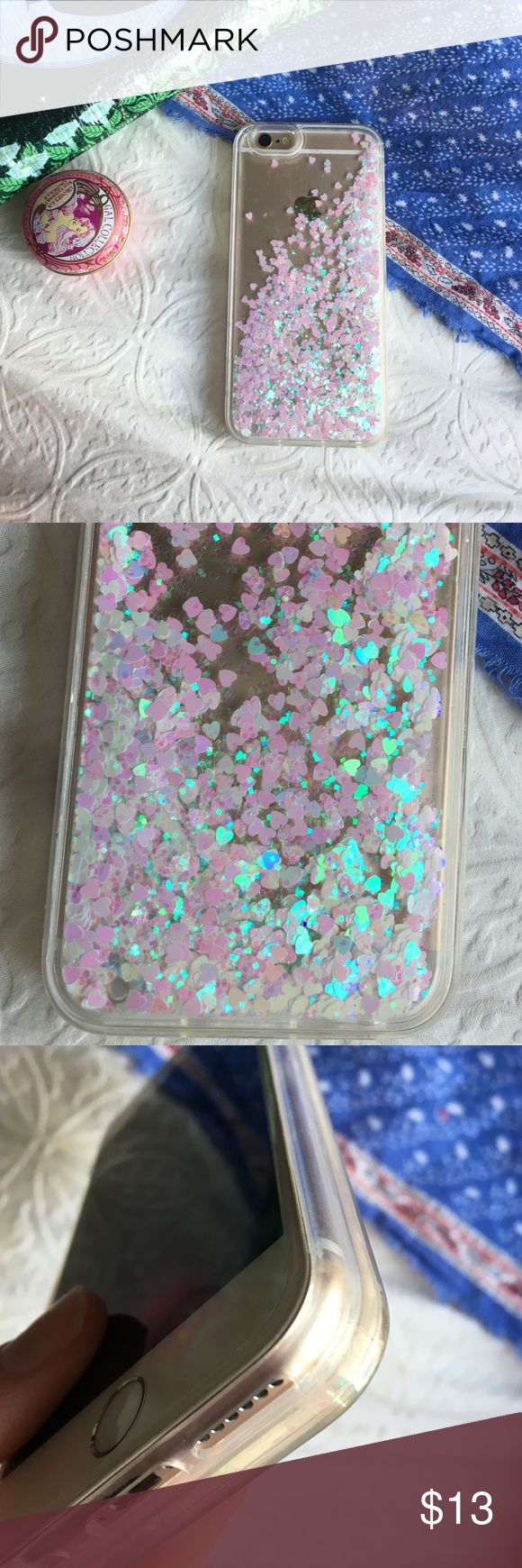 glitter phone case ✨brand new ✨pink sparkle water case ✨for iphone 6/6s ✨protects back of phone from scratches ✨not from listed brand-only for exposure ✨no lowballing please ✨ships next day excluding sundays Make an offer!  tags: sparkles, cotton candy, turquoise, pretty, artsy, protective, otter box, speck, hearts, heart, brandy melville, urban outfitters, violet, tumblr, cool, apple, gift, pearlescent, holographic, translucent, transparent, clear, Brandy Melville Accessories Phone Cases