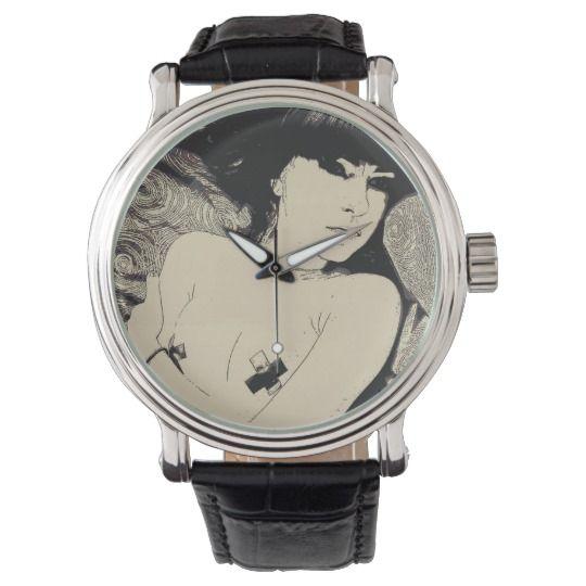 Erotic nude, abstract pop art, bondage girl naked wrist watch