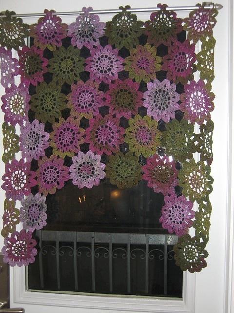 Kitchen Sunflower Curtain knit-and-crochet
