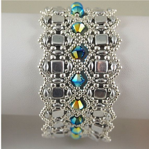 Silver and Crystal Cuff Bracelet by ChainedByLightness on Etsy