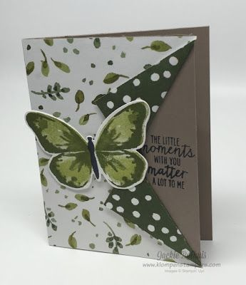 I am not the only one to loves this butterfly stamp set.  You've seen a ton of cards that I have made, and it's always a popular one in swaps!!!  I really like the use of DSP on this one--it shows bot