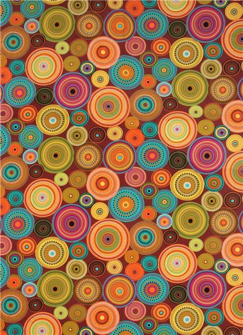 brown pattern circle fabric northern lights Michael Miller - Dots, Stripes, Checker - Fabric - kawaii shop modeS4u