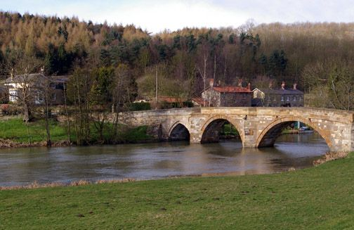Kirkham Bridge & River Derwent/photo by Arnold Underwood,March 18th 2007