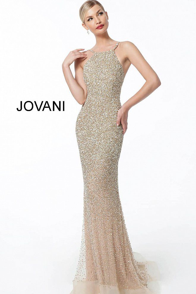 1a83c85ccb This Jovani 60280 gold pageant gown features a fitted silhouette with  allover beading