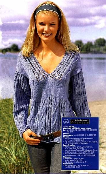 Пуловер с V-обрдзным вырезом. Схема вязания спицами. - 23 Июля 2010 - Вязание спицами, модели и схемы для вязания на спицах