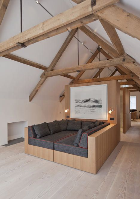wide fir floorboard and lighter beams (from sandblasting) -- more modern appearance