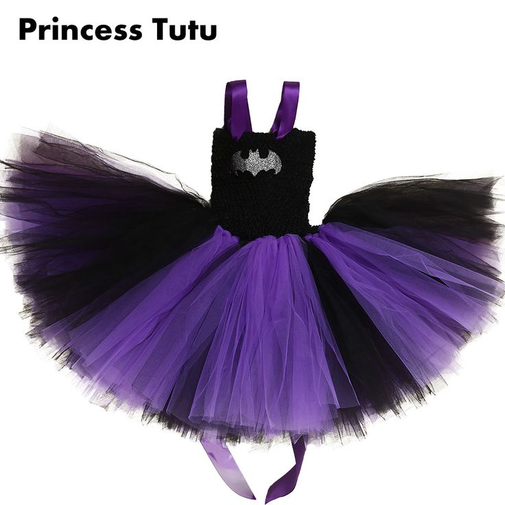 Hot Sale Purple Black Super Hero Bat Girl Birthday Party Dress Child Batman Custom For Kids Knee Length Superman Tutu Dresses #Affiliate