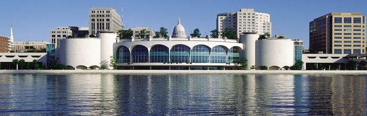 Monona Terrace in Madison, Wisconsin;  although designed by Frank Lloyd Wright in 1938, it wasn't constructed until the 1990s.