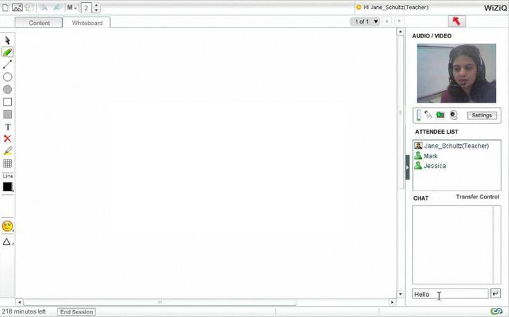 WiZiQ Virtuális Tanterem felhasználói felület
