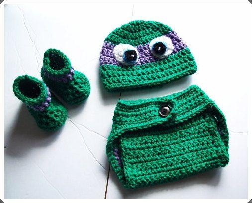 Crochet ninja turtle pattern   - Crochet baby patterns - Baby Ninja Turtle  Set - PDF Downloads - Baby clothing - Infant Crochet patterns