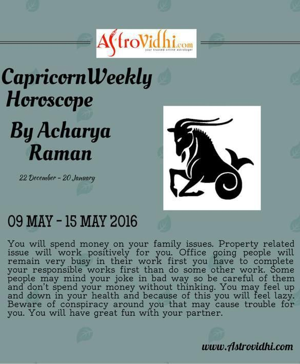 Check your Capricorn Weekly Horoscope (09/05/2016-15/05/2016).Read your weekly horoscope online Hindi/English at AstroVidhi.com.  #capricorn #weekly_horoscope