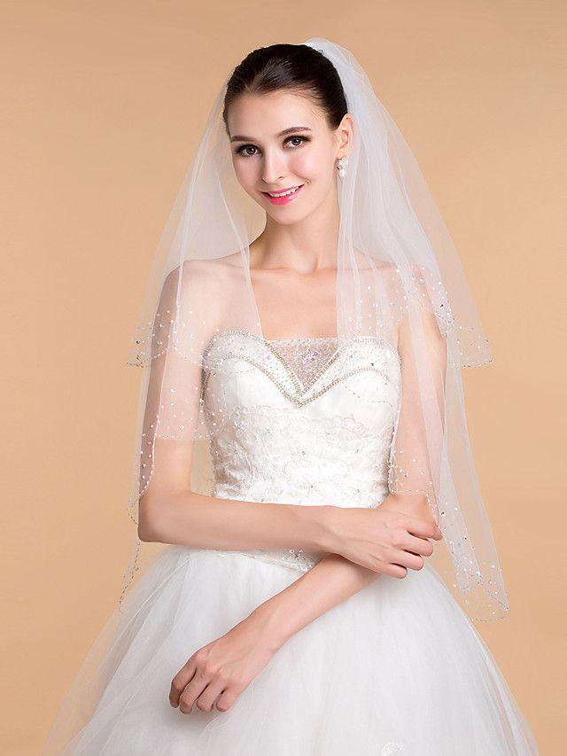 Wedding Veils Women's Elegant Tulle Beaded Edge Veils - GBP £28.46