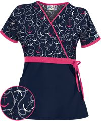 UA All Aboard Navy Mock Wrap Scrub Top Style #  UA28ANA