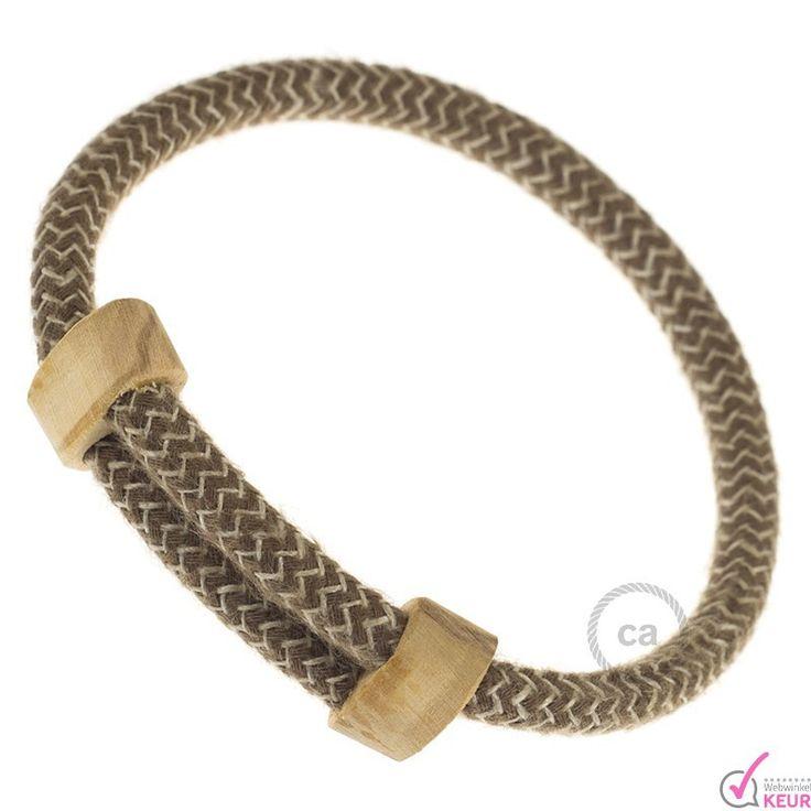 """Creative-armband van katoen en natuurlijk linnen """"boomschors"""" strijkijzersnoer…"""