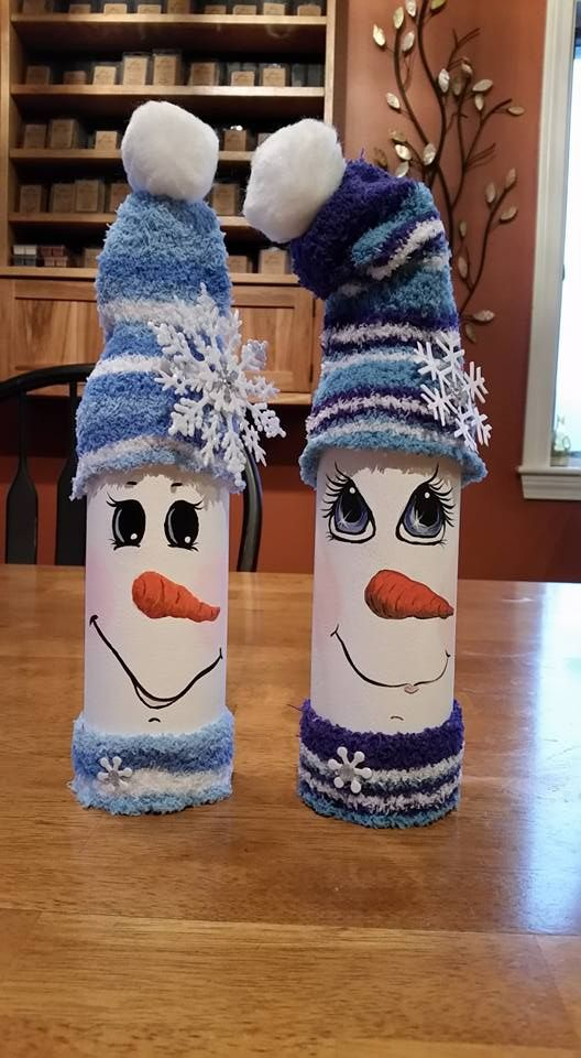 hand painted snowman wine bottle craft