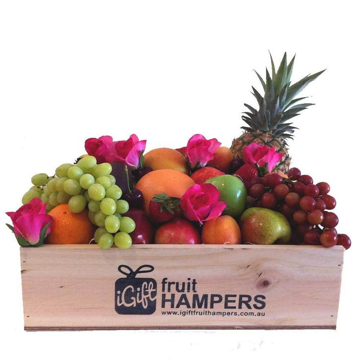 iGift Fruit Hampers - Hampers with Pink Roses   Fruit, $89.00 (https://igiftfruithampers.com.au/fruit-hampers/hampers-with-pink-roses-fruit/)