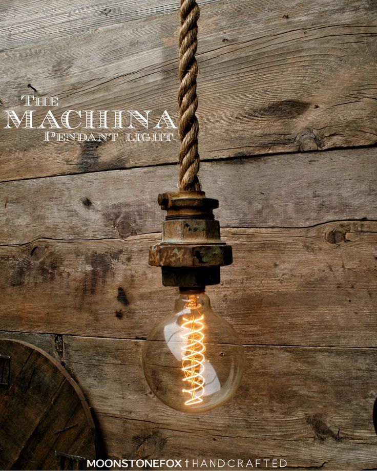 Industrial Rope Pendant Light -  Caged Ceiling light - Hanging Light - Rustic Pendant Light - Edison Bulb Statement Light (169.00 USD) by MoonStoneFox