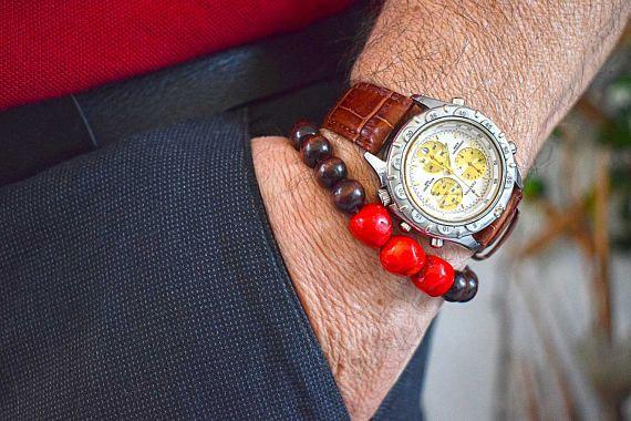 Mens Bracelet with Red Coral & Wood beads Bracelet for Him