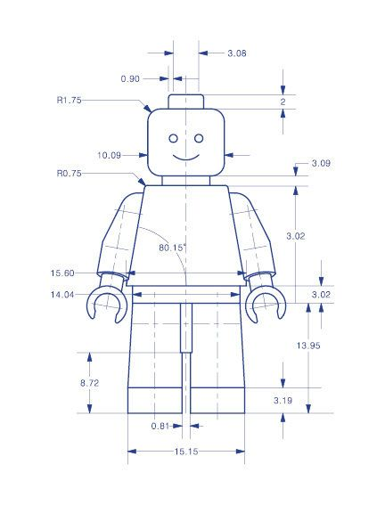 Toy Figure Technical Drawing in Blue 16x20 Sample by BARDARON