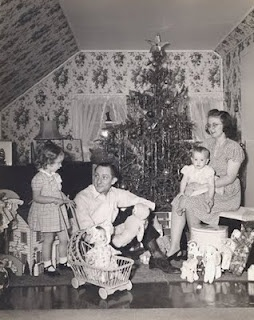 1946 Christmas snapshot of a family