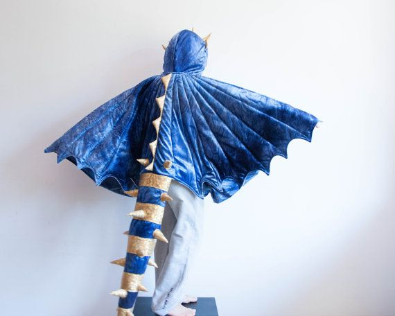 Dragon Costume, Blue and Yellow Dragon Children Costume, Party Costume or Halloween Kid Costume Wings, Deadly Nadder  The hood stays nice around the childs
