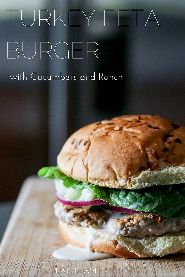 This easy turkey burger recipe can be made in less than 30 minutes. The feta and cucumber ranch add a little extra tasty flair! [ad] #burgertour