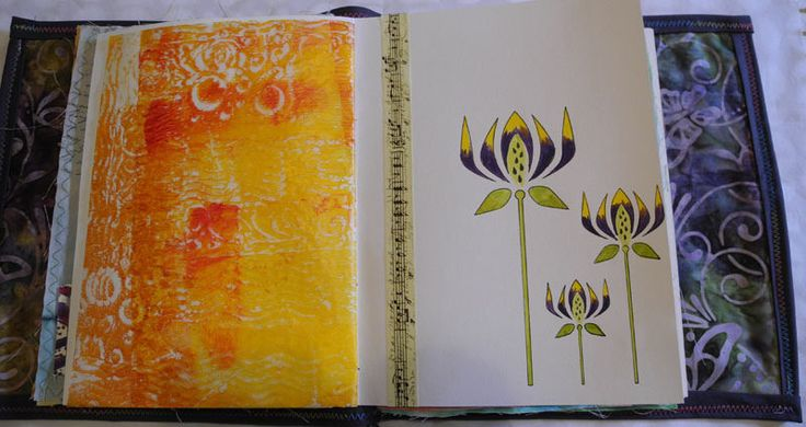 Fabric Book Page, Stencil on paper and gelliplate print