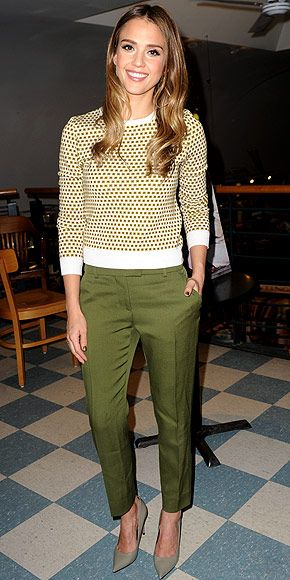 JESSICA ALBA | The actress-turned-author pairs a cute patterned sweater with cropped green Fendi pants, Jennifer Meyer jewelry and pointy pumps for a promotional appearance for her new book, The Honest Life, in N.Y.C.
