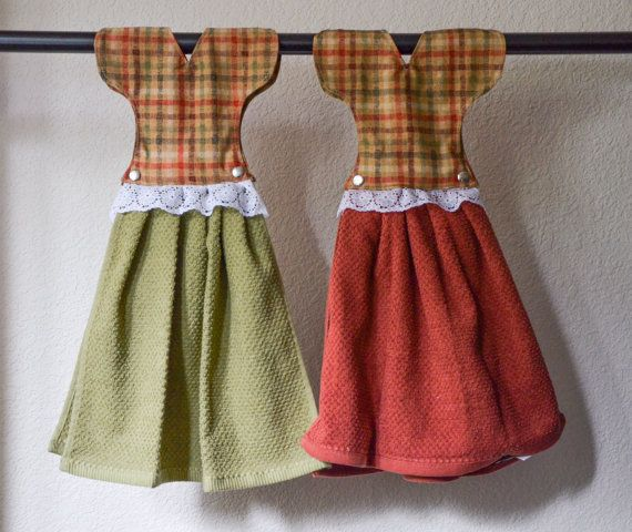 Dress Hanging Hand Towels - Christmas Kitchen Decor -- Set of Two