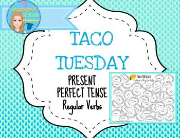 Spanish present perfect tense, el pretrito perfecto, el presente perfecto, regular verbs, Spanish game, Spanish class games, Spanish conjugation game, Spanish word race, Taco Tuesday, conjugation practiceSpanish Present Perfect TACO TUESDAY Conjugation Game  *Regular verbs only*This is a quick and simple game that gets students competing to identify vocabulary words or verb conjugations.