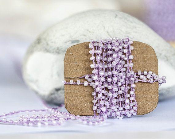 1412_Beads thread, Lilac beads lace, Bead braid, Beads thread for jewelry, Bead lace, Beading trim, Braid beads, Jewelry beads trimming_5 m.