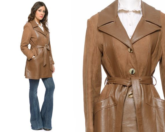 70s Leather Jacket Suede COCOA Brown Trench by GravelGhostVintage, $84.00