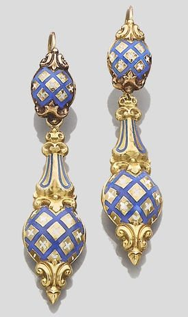 A pair of 19th century ear pendants, French, circa 1850.