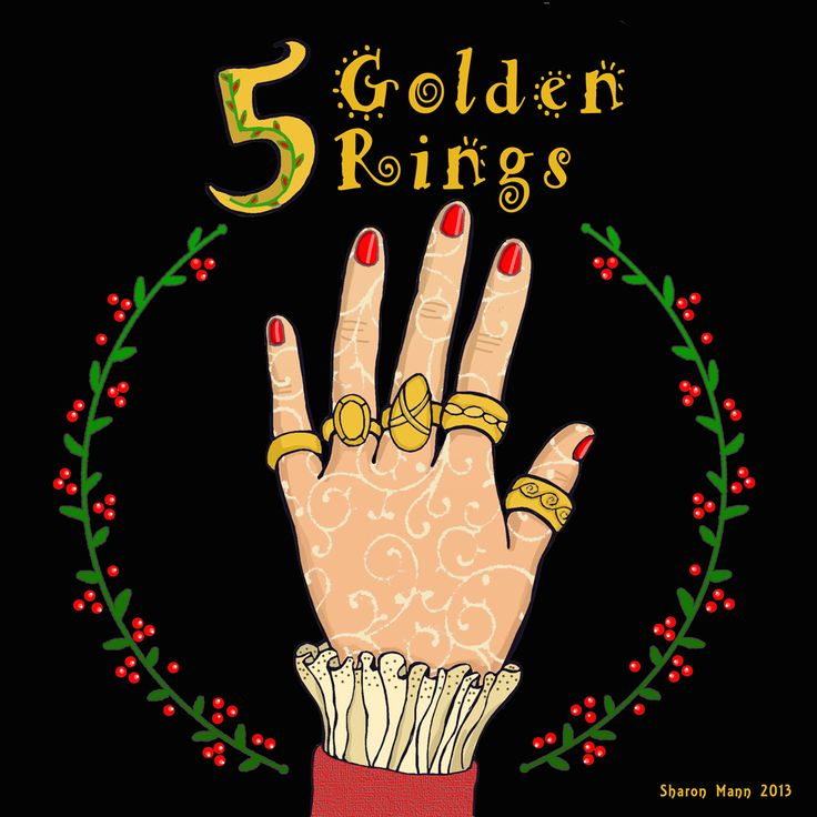 On the 5th Day of Christmas, my true love gave to me: 5 Golden Rings.