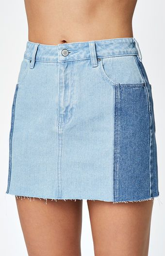 54202f7a55 Contrast Panel Denim Skirt | Bottoms in 2019 | Denim skirt, Denim ...